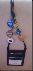 Id badge with various &quot;pins&quot;
